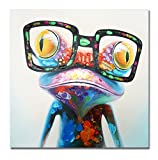 SEVEN WALL ARTS -100% Hand Painted Oil Painting Cute Animal Frog Painting Large Size Stretched Art Ready to Hang for Living Room 40 x 40 Inch