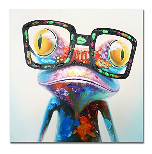 SEVEN WALL ARTS -100% Hand Painted Oil Painting Cute Animal Frog Painting Large Size Stretched Art Ready to Hang for Living Room 40 x 40 - Cartoons Glasses That Wear