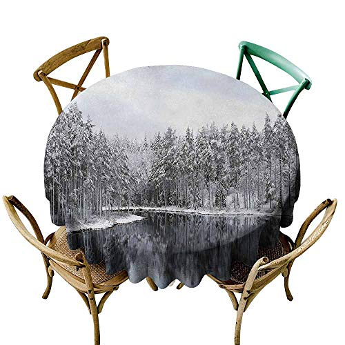 - Oncegod Resistant Table Cover Woodland Decor Lake Surrounded by Snow Covered Trees on a Cold Winter Day in Finland Reflections Table Cover for Kitchen Dinning Tabletop Decoratio 70 INCH White Brown