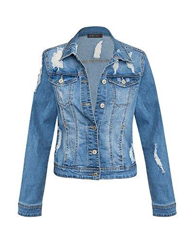 Shelikes Women Girls Long Sleeve Vintage Denim Light Wash Faded Ripped Jacket ()