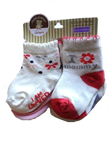 Carter's Child of Mine 4 pack Girls Socks 6-12 Months