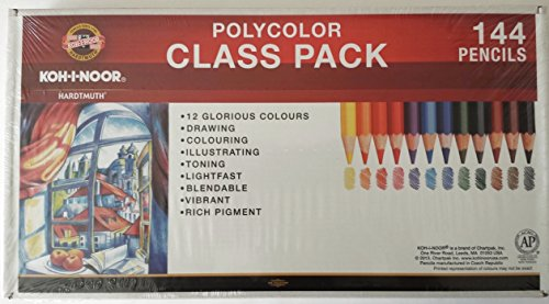 Koh-I-Noor Polycolor Drawing Pencil Class Pack, 12 Colored Pencils, 12 Each Per Color, 144 Pencils Total (FA3820CP) by KOH-I-NOOR