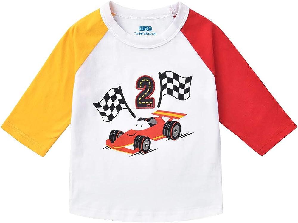AMZTM Camisa raglán 2e cumpleaños Niños - macchina da Corsa Camiseta Jersey béisbol