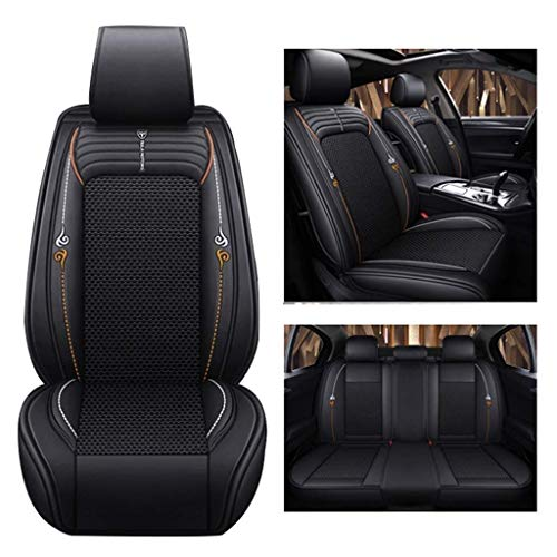 Complete set car seat cover, universal leather ice-water-resistant leather and silk airbag, compatible with front seats and rear seats 5 seats (color: black):