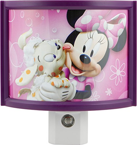 (Disney 13367 Minnie Mouse Automatic LED Children's Night light, Wraparound Shade, Light Sensing, Auto On/Off, Plug-In, Soft Pink Glow, Energy Efficient, Featuring Bella from Mickey Mouse)