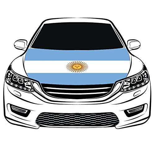 Argentina Flag Car Hood Cover 3.3X5FT 100% Polyester,Engine Flag,Elastic Fabrics Can be Washed,Car Bonnet Banner