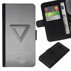 KLONGSHOP // Tirón de la caja Cartera de cuero con ranuras para tarjetas - Banda Ilusión óptica Música Negro Blanco - Samsung Galaxy A3 //