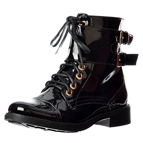 Onlineshoe Women's Lace Up Double Buckle Military Combat Biker Short Ankle Boot UK3 - EU36 - US5 - AU4 Black Patent - (Buckle Black Patent Ankle Boots)