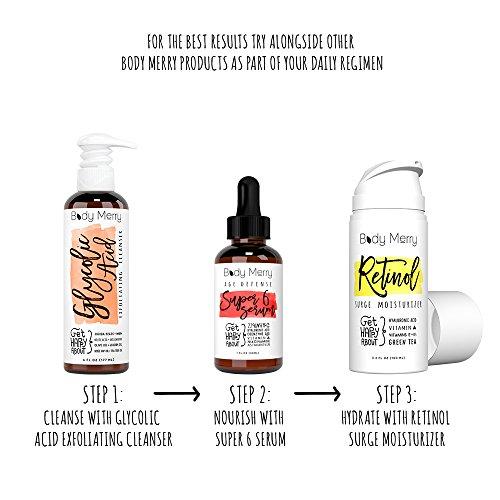 51FP bfOXNL - Body Merry Retinol Moisturizer Anti Aging/Wrinkle & Acne Face Moisturizer Cream w Hyaluronic Acid + Vitamins; Deep Hydration for Men & Women! 3.4 oz