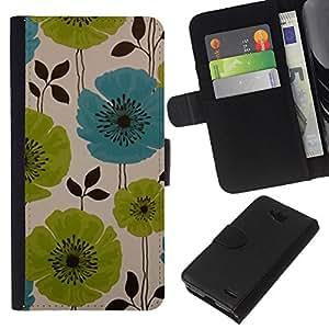 WINCASE Cuadro Funda Voltear Cuero Ranura Tarjetas TPU Carcasas Protectora Cover Case Para LG OPTIMUS L90 - verde de la amapola del trullo pintado retro de la vendimia