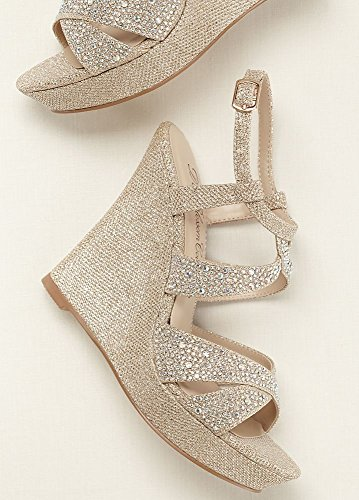 Metallic De Sandal Balle8 Blossom Style Nude With Wedge Heel Alle Embellishment High Crystal 8 OaOqwgYr