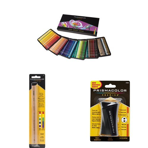 Prismacolor Premier Soft Core Colored Pencil, Set of 150 Assorted Colors with Blender Pencil and Pencil Sharpener