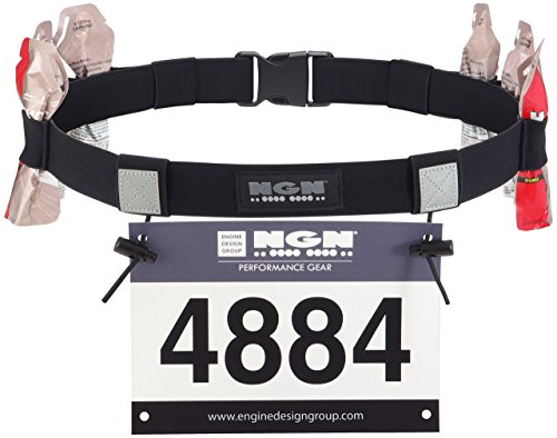 NGN Sport - Race Number Belt for Triathlon, Marathon, Running, Cycling (10 Gel Loops) - Tri Race Belt