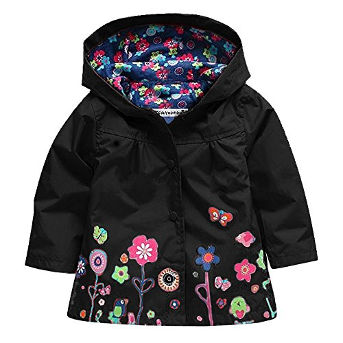 Wennikids Baby Girl Kid Waterproof Floral Hooded Coat Jacket Outwear Raincoat Hoodies Small Black