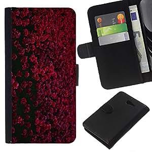 [Neutron-Star] Modelo colorido cuero de la carpeta del tirón del caso cubierta piel Holster Funda protecció Para Sony Xperia M2 [Rojo granate Negro Flores de campo]