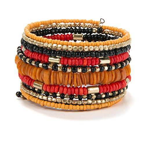 SPUNKYsoul Fall Thanksgiving Orange Handmade Bohemian Coil Spring Bracelet for Women Collection (Orange Multi) -