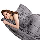 BUZIO Weighted Blanket 15 lbs for Adults (140-190 lbs), Heavy Blanket with Oeko-TEX Standard Cool Cotton and Premium Glass Beads, Same Size as Queen Size Bed (60 x 80 Inches, Grey)