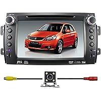 Car Radio Stereo Head Unit GPS Navigation DVD Player for SUZUKI SX4 2006-2012 with Bluetooth/SD/USB/FM/AM Radio/Steering Wheel Control/AV-IN/Free Map