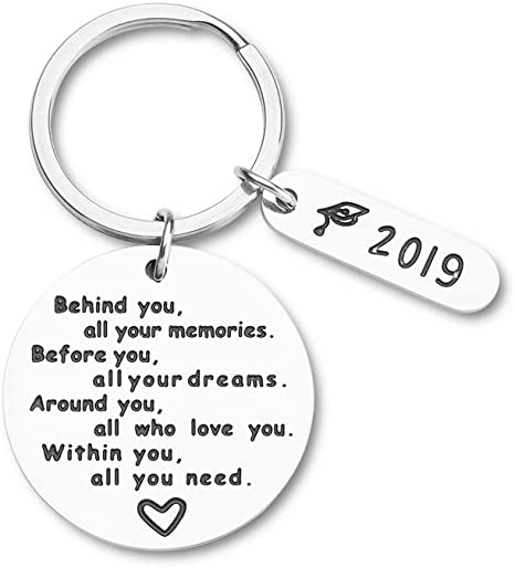 LParkin College Graduation Gifts for Her 2019 Behind You All Your Memories Before You All Your Dream Graduation Keychain Inspirational Graduates Key Chains Inspirational Gifts for Women
