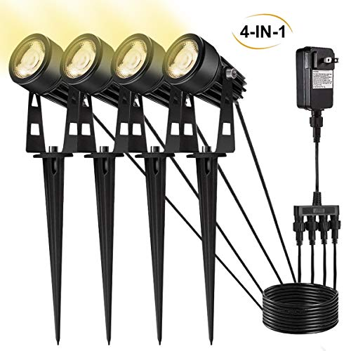 (ALOVECO 4 X 3W Outdoor Landscape Spotlights 4-in-1 Landscape Lighting with Stand Spike LED Pathway Lights 12V Low Voltage Waterproof for Lawn Pathway)