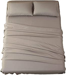 Sonoro Kate Bed Sheet Set Super Soft Microfiber 1800 Thread Count Luxury Egyptian Sheets 18-Inch Deep Pocket Wrinkle and Hypoallergenic-3 Piece(Twin Grey)