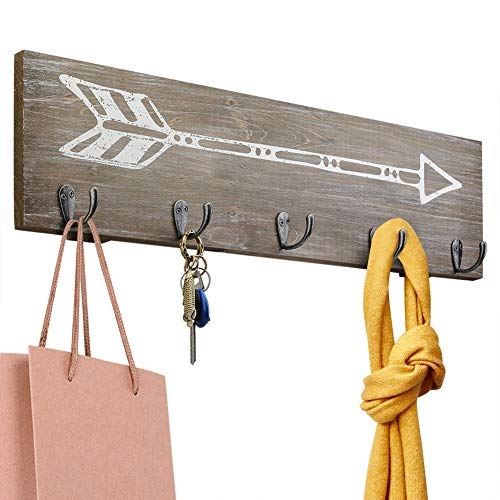 Rustic Wood Wall Hanger with 5 Metal hooks and Arrowhead Pat