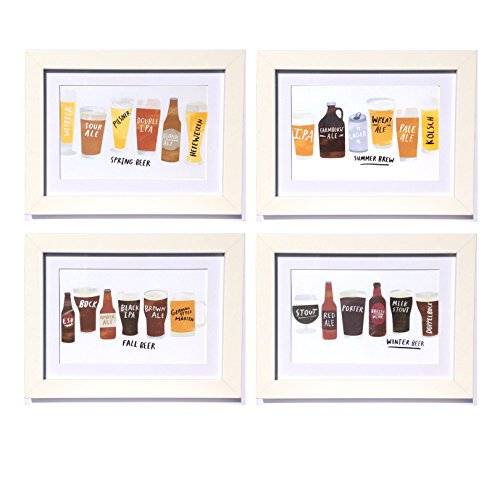 Seasonal Craft Brew Framed Art Prints - Set of 4 - 5-in x 7-in (Kit Microbrewery)
