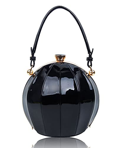 9c062ada6db New Womens Round Shaped Patent Style Top-Handle Handbag Ladies Girl Shoulder  Bag (Black)  Amazon.co.uk  Shoes   Bags