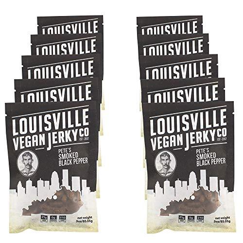 Louisville Vegan Jerky - Smoked Black Pepper, Vegetarian & Vegan Friendly Jerky, 21 Grams of Non-GMO Soy Protein, Gluten-Free Ingredients (3 Ounce, Pack of 10)