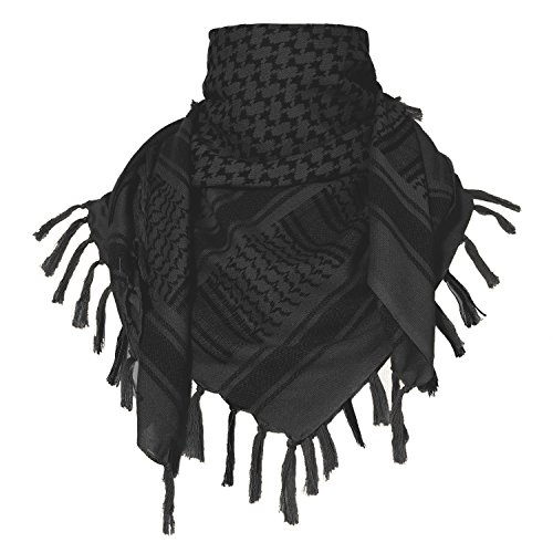 ChinFun 100% Cotton Keffiyeh Tactical Desert Scarf Military Arab Scarf Wrap Shemagh,Black