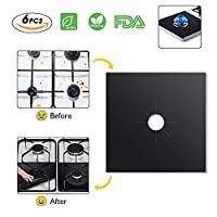 Kitchen Stove Burner Covers 6 Pack, Knifun DIY Gas Range Protectors, Reusable Thick Stovetop Burner Liners, Non-Stick & Easy Clean