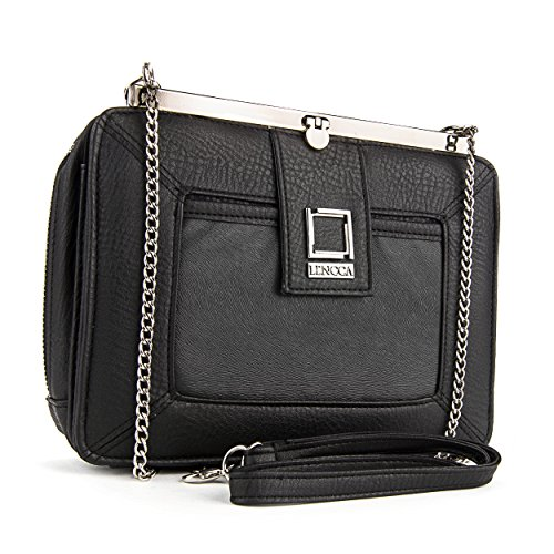Lencca Esvivina Vegan Leather Crossbody Smartphone Clutch Wallet Purse with Shoulder Strap - (Pleats Wallet)