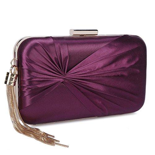 Tassel Evening Purse (Clocolor Women's Elegant Tassel Pendant Silk Evening Party Clutch Bags Bridal Wedding Purse)