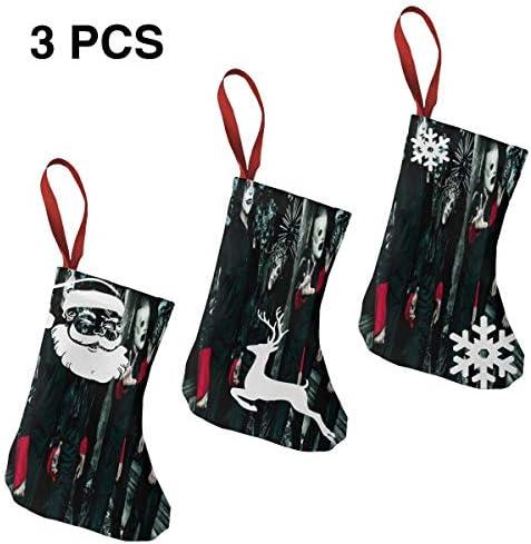 クリスマスの日の靴下 (ソックス3個)クリスマスデコレーションソックス 音楽Slipknot クリスマス、ハロウィン 家庭用、ショッピングモール用、お祝いの雰囲気を加える 人気を高める、販売、プロモーション、年次式