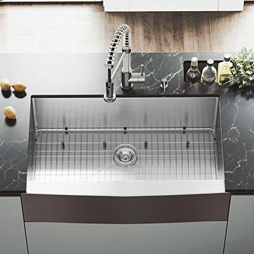 (VIGO VGR3620CK1 36 Inch Single Bowl 16 Gauge Stainless Steel Commercial Grade Farmhouse Apron Front Kitchen Sink with Grid and Strainer, Rounded Corners and SoundAbsorb Technology)