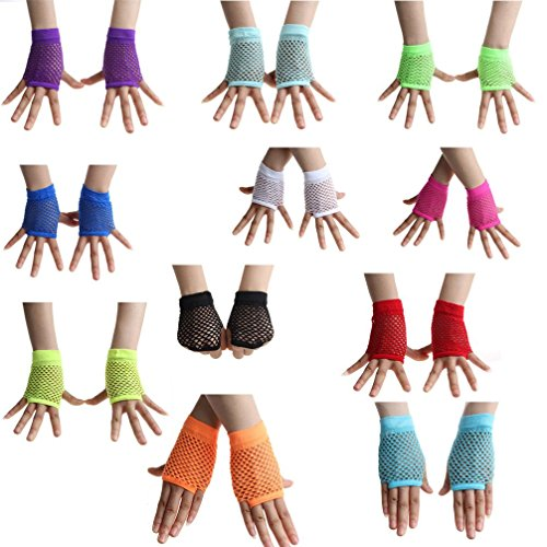 10Pairs Neon Fishnet Mesh Net Fingerless Short Gloves Party Costume Favor ()