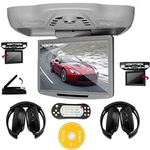 Ouku 12.1 Inch Roof Mount Car DVD Player with TV FM Transmitter Free Headphones(Gray) (28 Flip Down Monitor)