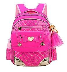 Bowknot Rhinestone Kids School Rose Red Backpack