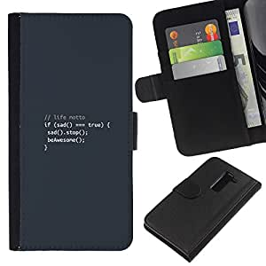 Stuss Case / Funda Carcasa PU de Cuero - Life Motto Code - Coding Hacker Funny - LG G2 D800