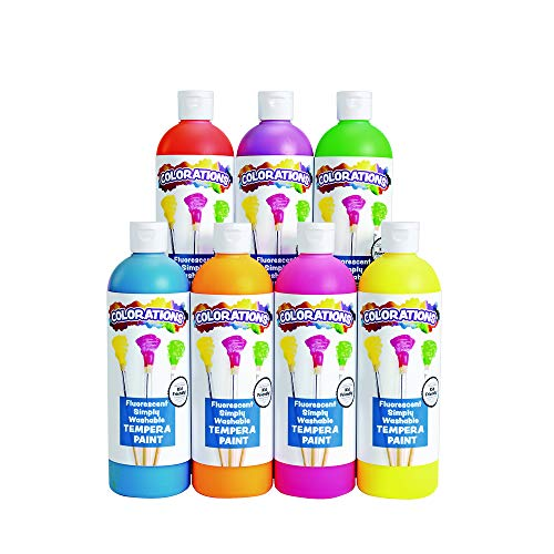 - Colorations Washable Tempera Paint, Set of 7, 16 fl oz, Set of 7, Fluorescent, Neon, Non Toxic, Vibrant, Bold, Bright, Kids Paint, Craft, Hobby, Fun, Art Supplies (Item # FSWTSET)