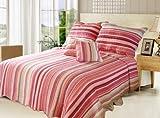 DaDa Bedding DXJ101824 Stunning 5-Piece Quilt Set, Queen, Striped