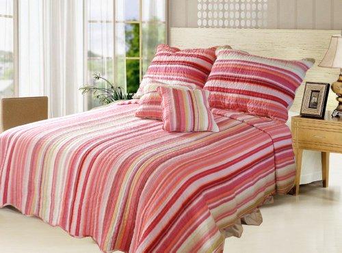 DaDa Bedding DXJ101824 Stunning 3-Piece Quilt Set, Twin, Striped