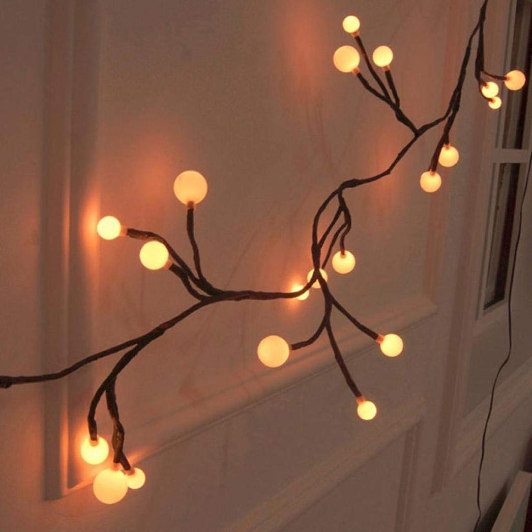 Glumes LED String Lights Rattan Style Lamp, 72 LED 8.2ft 8 Modes Hanging Indoor Outdoor Decoration for Christmas Party Wedding Holiday Birthday Garden Patio Bedroom --American Warehouse Shipment (Warm White)