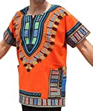 RaanPahMuang Brand Thick Muang Cotton Print African Dashiki Shirt Africa Kaftan, Medium, Orange