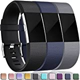 Wepro Bands Replacement for Fitbit Charge 2 HR, 3-Pack, Buckle, Large, Small