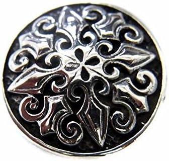 百合 十字架 フレア クロス コンチョ ネジ式 スクリュー ボタン パーツ 財布 CONCHO シルバー925製