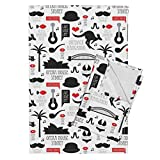 Roostery Country Travel Fish Australia Mustache Sydney Kangaroo Tea Towels Australia Outback Down Under by Littlesmilemakers Set of 2 Linen Cotton Tea Towels