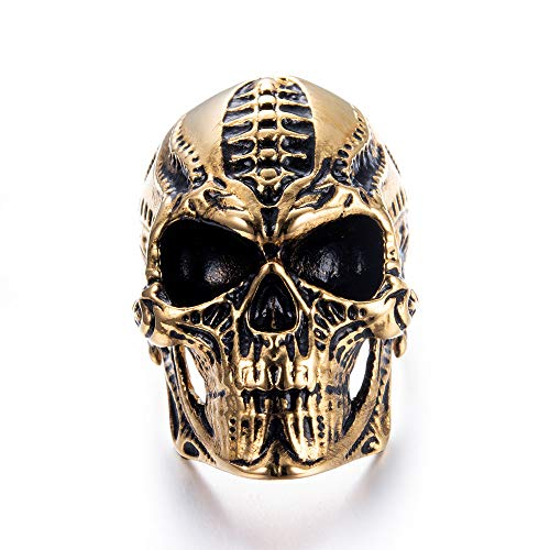 Eejart Stainless Steel Alien Skull Ring, Suitable for Hiphop Biker Men's Domineering Punk Ring, the Premium Fashion Forward Band Ring for Man (Gold Black, 11)