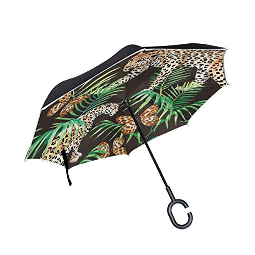 Black Close Panther Up (Gold Black Jungle Butterfly Panther Double Layer Reverse/Inverted Umbrellas for Car Rain Outdoor Windproof UV Protection Big Straight Umbrella C-Shaped Handle)
