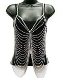 NYFASHION101 Ladies' Classic Multi Strand Fashion Body Chain Jewelry IBD1019R, Silver-Tone